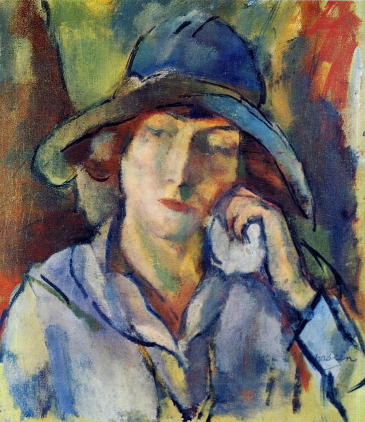 j9 Jules Pascin (Bulgarian-born French & American painter, 1885-1930) Artist's Wife Hermine David in a Blue Hat 1918